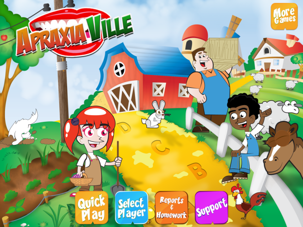 opening screen of Apraxia Ville by Smarty Ears